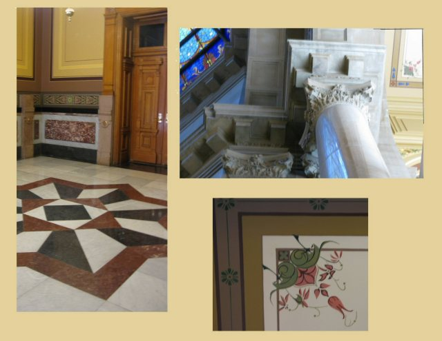 A few details.  Inlayed floor, carved pillars, and hand-painted ceilings.