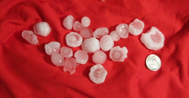 Just as unpredictable  variables in the weather caused this hail to fall on my car.