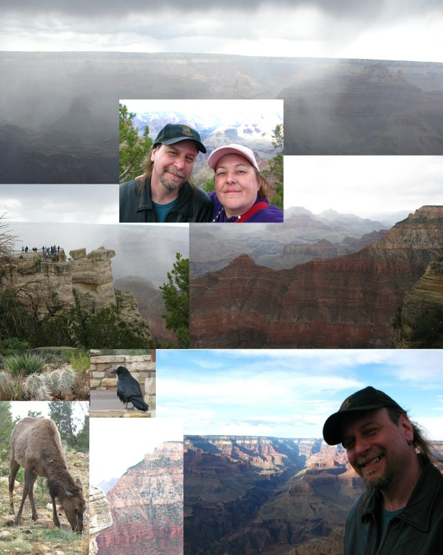 It was hailing pretty hard when we arrived at the Grand Canyon.  Our first view was in the fog.  45 minutes later, after enjoying the elk, crows, and cactus around the canyon, it cleared enough to get a good look.
