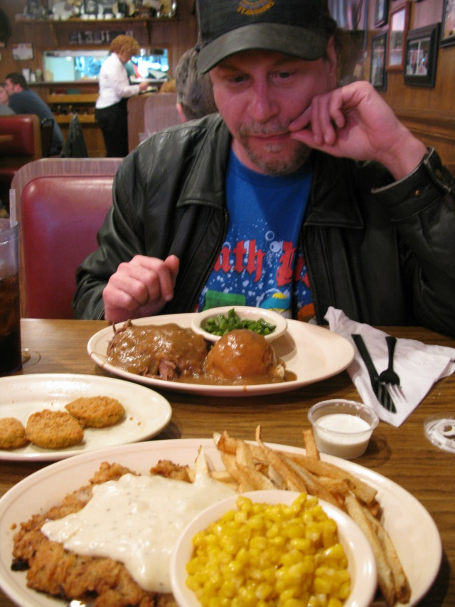 It looks like Brian is jealous of my chicken fried steak, but I was jealous of his pot-roast.  Everything was homemade.  No store-bought rolls or canned vegetables here.