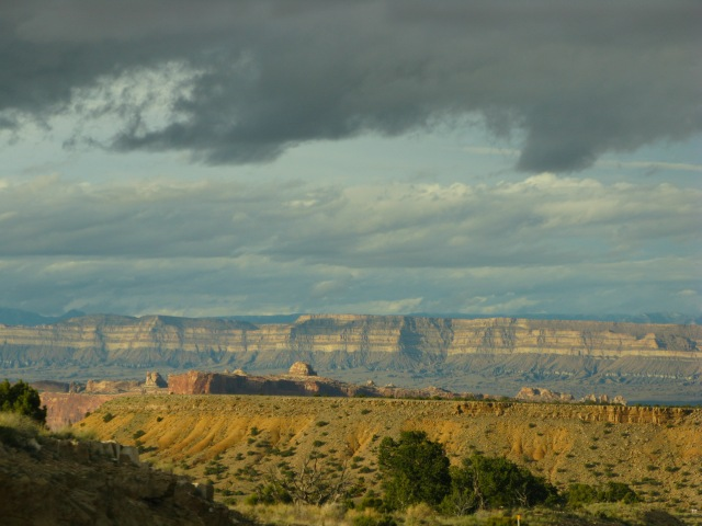 Interstate 70, winding it's way through the San Rafael Swell in Utah.  It's kind of like you took the Painted Desert, squashed it together with the Grand Canyon, and then let people drive through it.