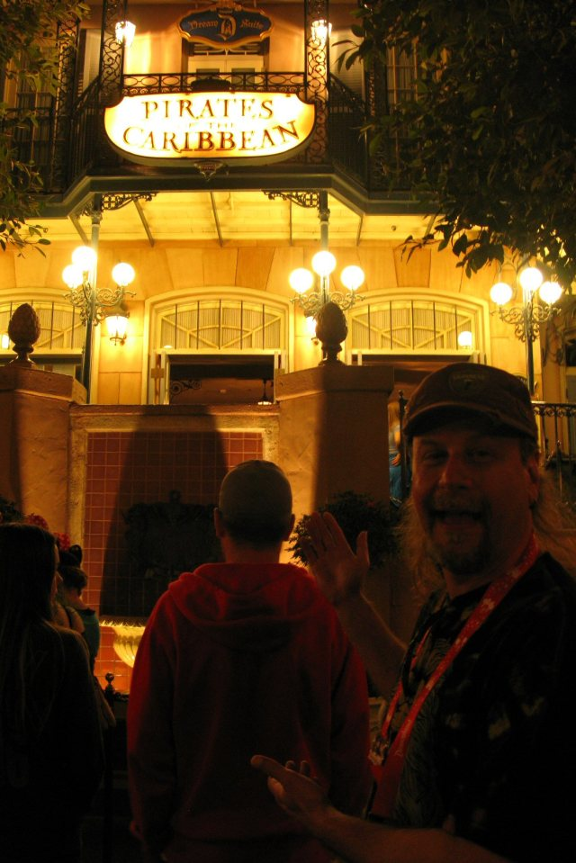 Nighttime at Pirates of the Caribbean.  Bad picture, good memory.